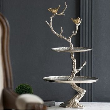 Tree Pattern Metal Serving Tray For Dining Table