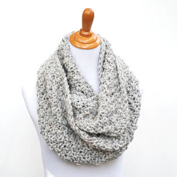 Chunky cowl scarf gray marble, knit scarf, the Meeting Street