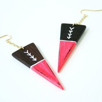 Hand-Painted Wooden Triangle Dangle Earrings in Neon Red and Walnut