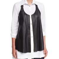 Upstage Perforated Leather Vest, Size: