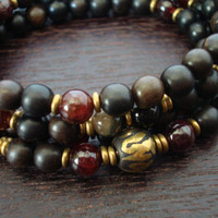 Men's Love & Compassion Mala - Tourmaline and Garnet Mala Necklace or Wrap Bracelet - Yoga, Buddhist, Meditation, Prayer Beads, Jewelry