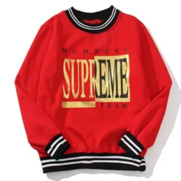 Supreme New fashion letter print couple long sleeve top sweater Red
