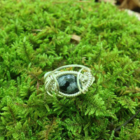 SIZE 9 Sterling Silver Snowflake Obsidian Ring Made in the USA