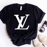 LV Louis Vuitton  2018 latest tide brand trendy fashion printed letter T-shirt F Black