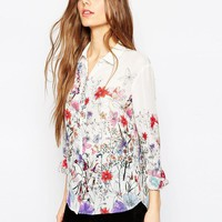ASOS | ASOS Water Color Floral Border Print Blouse at ASOS