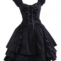 M4U Womens Classic Black Layered Lace-Up Cotton Lolita Dress