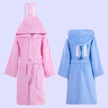 Kids Bath Robe Girls Bathrobe Cute Rabbit Ear Hooded Boys Sleepwear Bathrobes for Children Homewear Towel 5 Colors