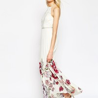ASOS Occasion Pleated Maxi Dress With Floral Border Print at asos.com