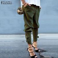 Fashion Harem Pants 2016 Women Trousers Casual Loose Pockets Elastic Waist Pants Leisure Army Green Pants Plus Size M-XL