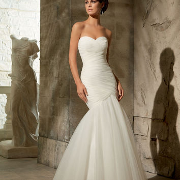 Blu by Mori Lee 5108z Simple Mermaid Wedding Dress (Zipper Version)