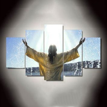 Jesus Baptism Heaven Christian Five Piece Canvas