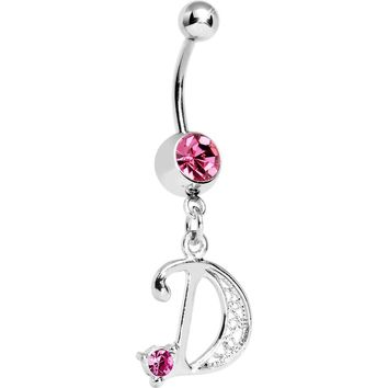 "Passion Pink Jeweled INITIAL Dangle Belly Ring - LETTER ""D"""