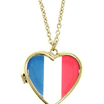 French Heart Flag Locket Necklace Gold Tone Paris France Pendant NQ34 Fashion Jewelry