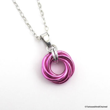 Hot pink pendant, chainmaille love knot