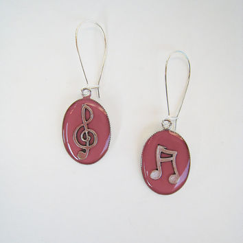 Pink music earrings treble clef note. Dusty rose minimal musician jewelry rock jazz dance teenager dangle long drop surgical custom color