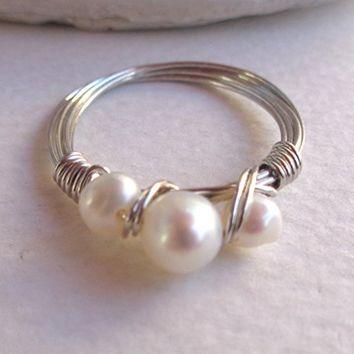 Freshwater Pearl Wrapped Ring 925 Sterling Silver