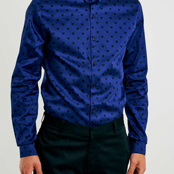 Blue Heart Print Sateen Long Sleeve Smart Shirt - Men's Shirts - Clothing