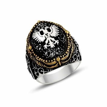 Authentic double eagle headed silver mens ring