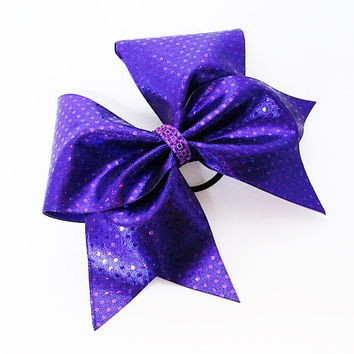 Cheer bow, Purple cheer bow, sequin cheer bow, cheerleading bow, cheerleader bow, softball bow, pop warner cheer bow, dance bow, cheerbow