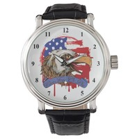 American Flag Bald Eagle Live Free Or Die Wrist Watches