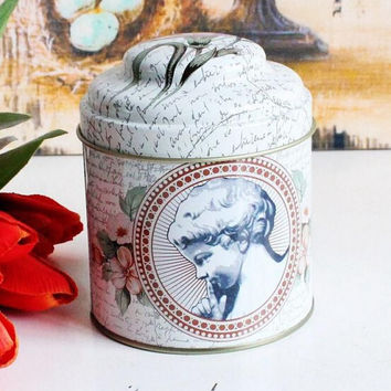 Retro Angel Flower Kitchen Coffee Tea Sugar Container Jar Can Tin Metal Home Decor Can