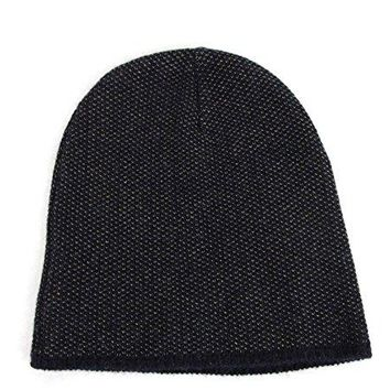 Gucci Dark Blue Wool Cashmere Knit Beanie Hat with Logo 352350 4079