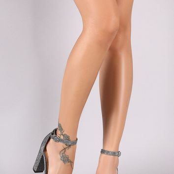 Bamboo Metallic Tinsel Ankle Strap Chunky Single Sole Heels