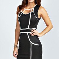 Black And White Sweetheart Neck Sleeveless Mini Dress