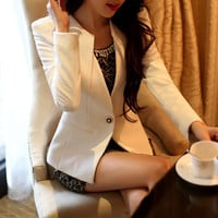 2017 Trending Fashion Women Slim Long Sleeve Business Casual Suit Outerwear Jacket _ 12406
