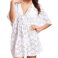 Womens V-neck Floral Lace Swimsuit Cover Ups White 5Pcs
