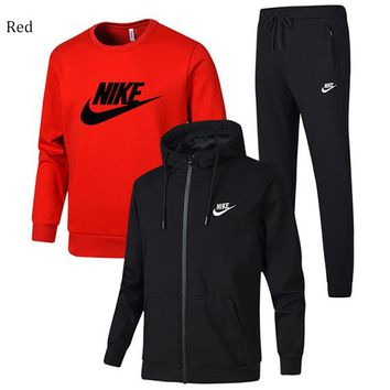 NIKE winter sports and leisure trend men's three-piece suit Red