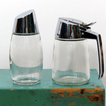 MCM Dripcut Syrup & Gemco Sugar Dispensers . Mid Century 1950s Diner Style . Chrome and Clear Glass . Made in USA . Vintage Restaurant
