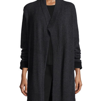 Cashmere Draped Mid-Length Cardigan, Size: