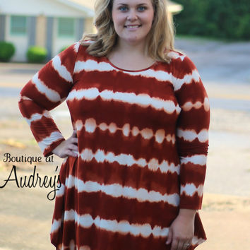 Plus Size Rust Tie Dye Print Tunic Dress with Side Pockets