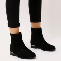 Louise Gold Trim Flat Ankle Boots in Black Faux Suede