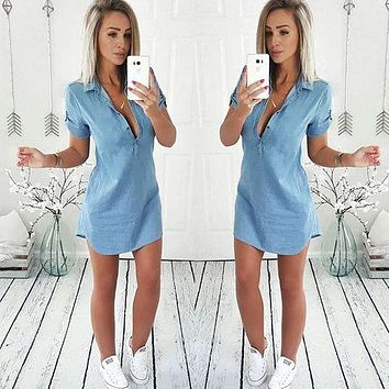 2019 Summer Women Casual Button Short Sleeve Denim Vintage Dresses Chest Button V-neck Shirt Dress Straight Asymmetrical Vestido