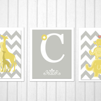Elephant and Giraffe print, Set of 3, 8X10, childrens art, kids room decor, nursery wall art, pottery barn inspired, 8x10 prints