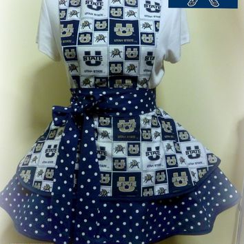 Utah State Aggies Womens Apron, Womens Aggies Football, Tailgating Apron, Womens Flirty Apron, Graduation Gift, Gifts for Her