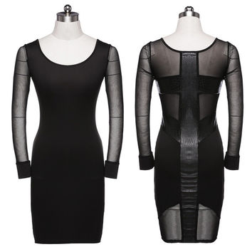 New Women Sexy OL Long Sleeve Snakeskin Bandage Cocktail Party Midi Dress  F_F = 1902036740