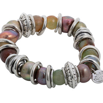 Stretchy Bracelet with Brown & Green Baroque Pearl and Stainless Steel Rings