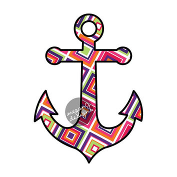 Geometric Anchor Decal - Colorful Square Pattern Car Decal Laptop Decal Cute Nautical Beach Bumper Sticker Pink Purple Green Orange