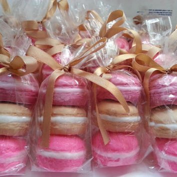 French Macaron Soap Favors Bachelorette Wedding Baby Shower Bridal Shower Macarons - Mini Food Soap Favour  50 Favor Pink Gold