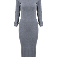 Gray Long Sleeve Split Back Bodycon Dress