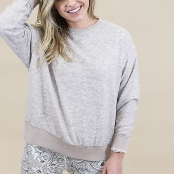 Brushed Knit Pullover, Taupe/Grey