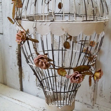 Hot air balloon Bird cage hand painted white pink rusted , adorned with rusty rose garland anita spero