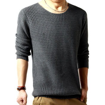 pullover sweater male o-neck sweater  spring long sleeved turtleneck sweater knitted men 3 colors SIZE:M-XXL