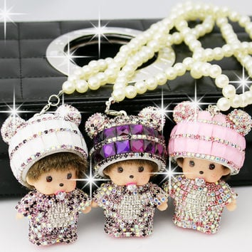 Panda head Kiki Girls Car Rear view mirror Pendant Pearl Diamond Ornaments Monchichi Car Accessories (send a pearl chain)