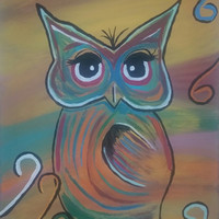 Hand painted, wood framed canvas - colorful owl