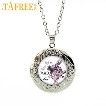 TAFREE We're all Mad here White Rabbit Alice in Wonderland Necklace Cartoon totoro prince My Little  locket pendant jewelry N463
