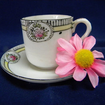 Demitasse cup and saucer made by Noritake for export company midcentury